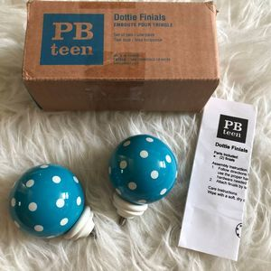 Pottery Barn Teen Dottie Finials Blue Polka Dot